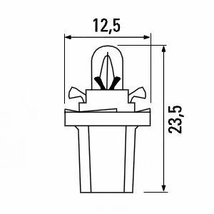 Лампа подсветки приборов с пластиковым цоколем B8,5d
